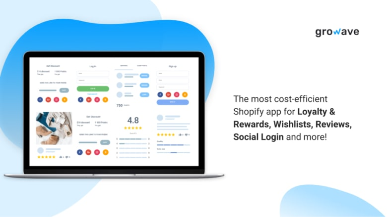 Growave for product reviews, wishlists, loyalty programs, referrals, social login, and UGC