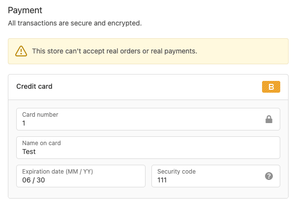 Placing Shopify test order using bogus payment gateway