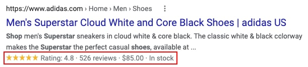 Rich snippet results example in Google search