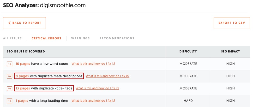 SEO Analyzer report showing duplicate meta titles and descriptions