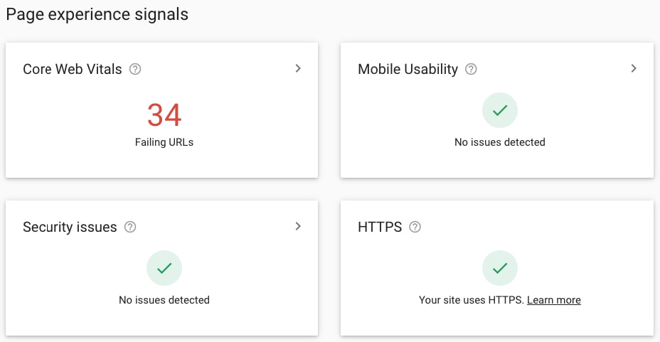Page experience signals report in Google Search Console