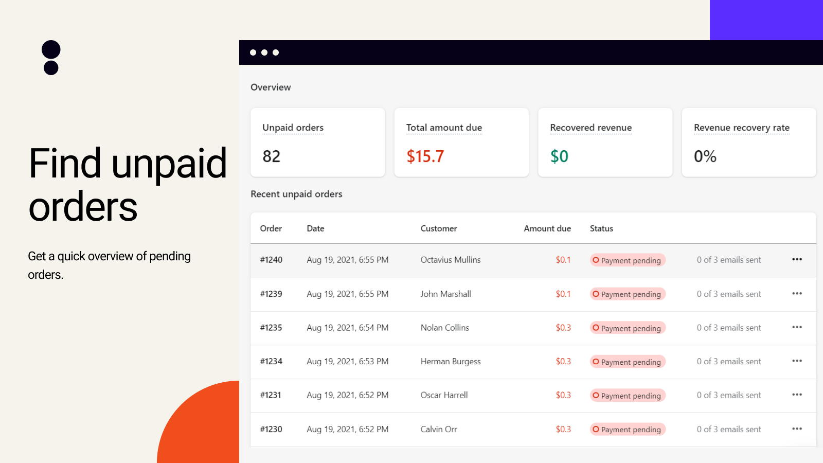 Overview of the unpaid orders in Payster dashboard
