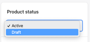 Changing product status from active to draft