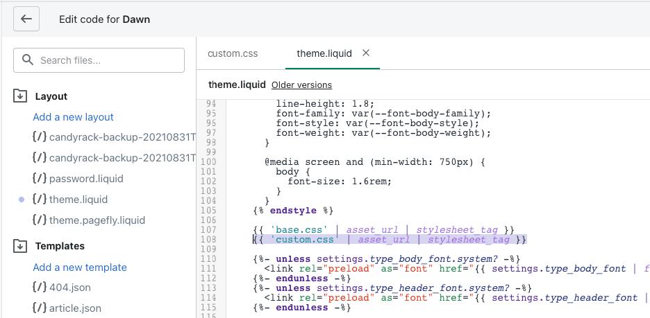 Adding the custom CSS file to theme.liquid
