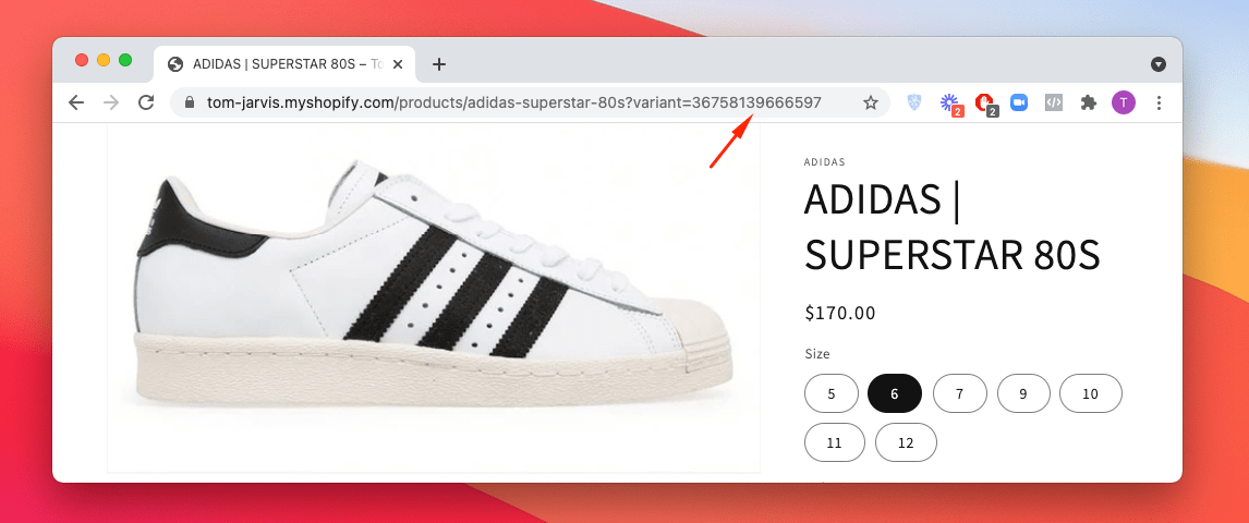 Locating variant ID in the product URL