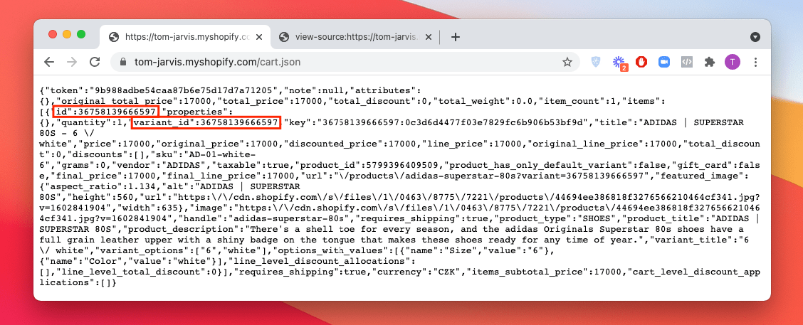 Locating product ID and variant ID in the cart.json file