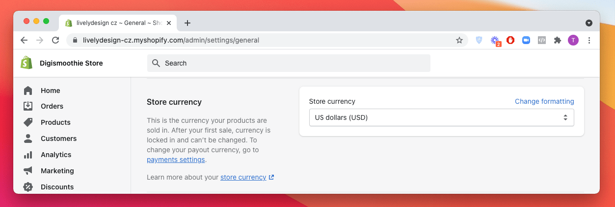 Changing store currency in Shopify admin