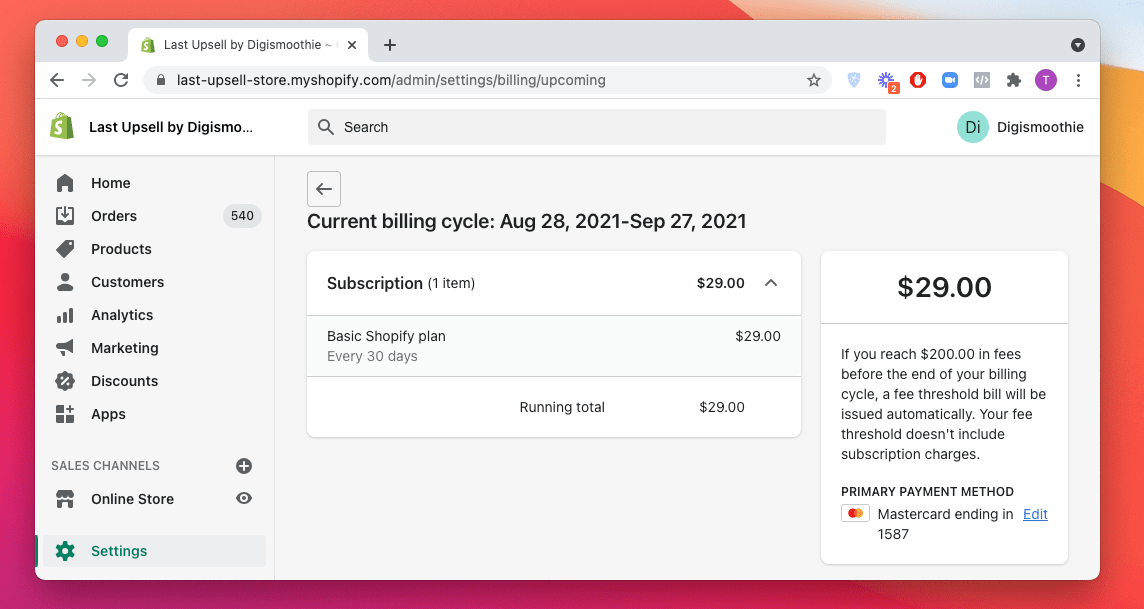 Shopify billing example in USD currency