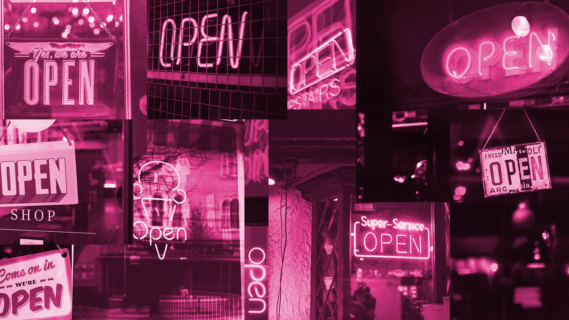 A collage of open for business signs.