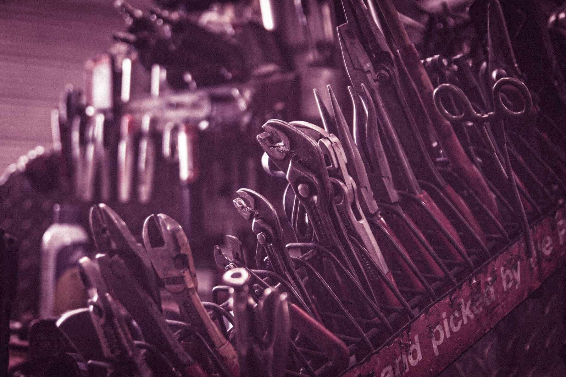 A rack of tools.