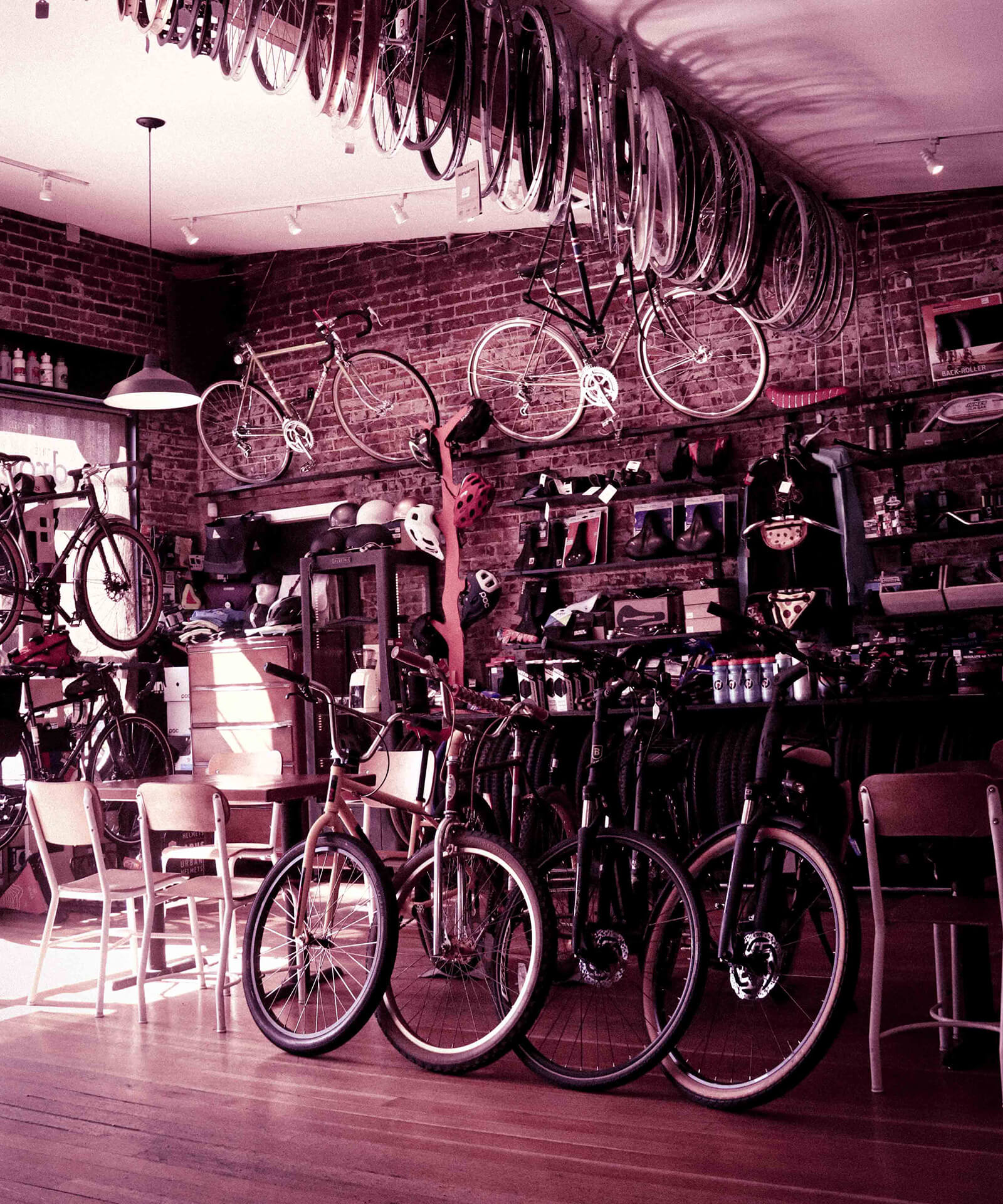 Inside of a retail bike shop.