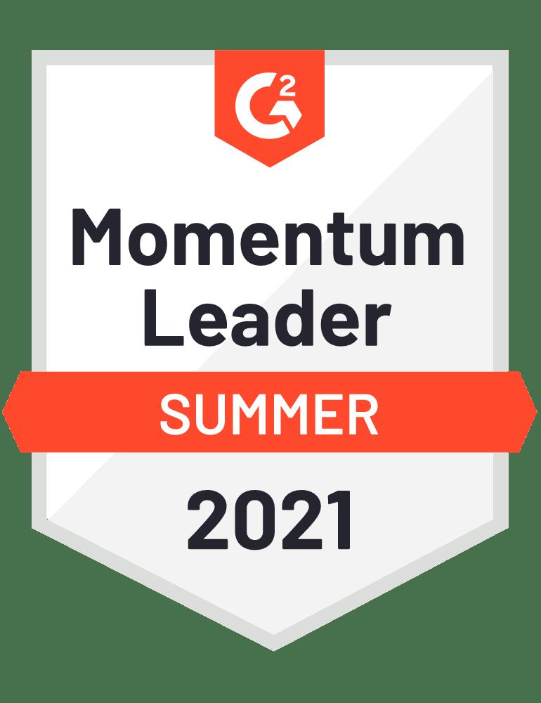 G2 Momentum Leader Summer 2021 Badge.