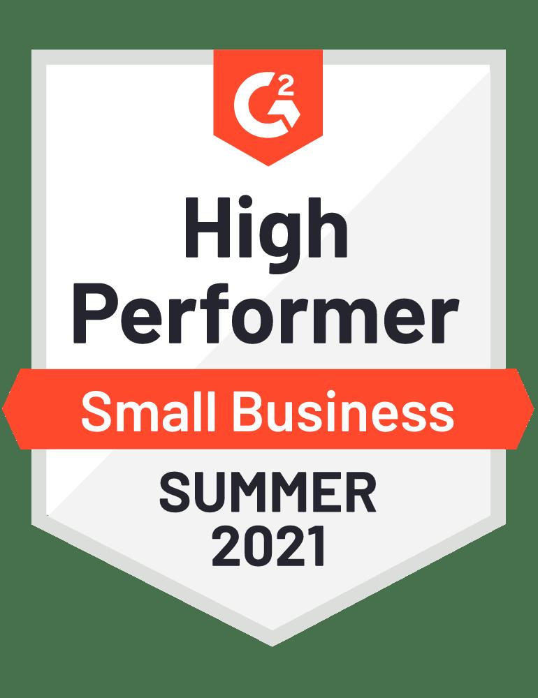 G2 High Performer Summer 2021 Badge.