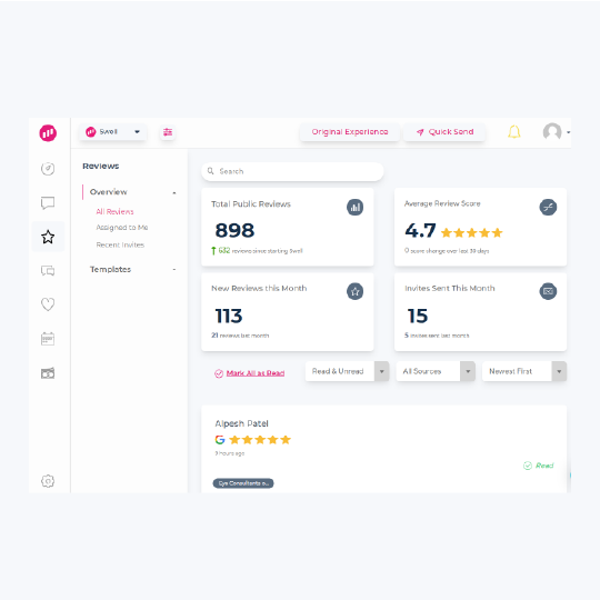 Swell Review dashboard