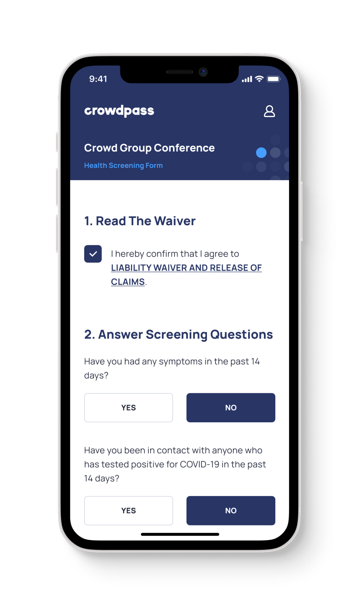 User Feature 2 - Health Screening Form