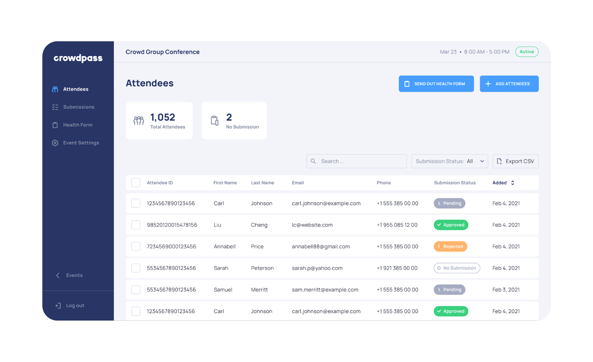 Admin Feature 5 - Export Data of Attendees