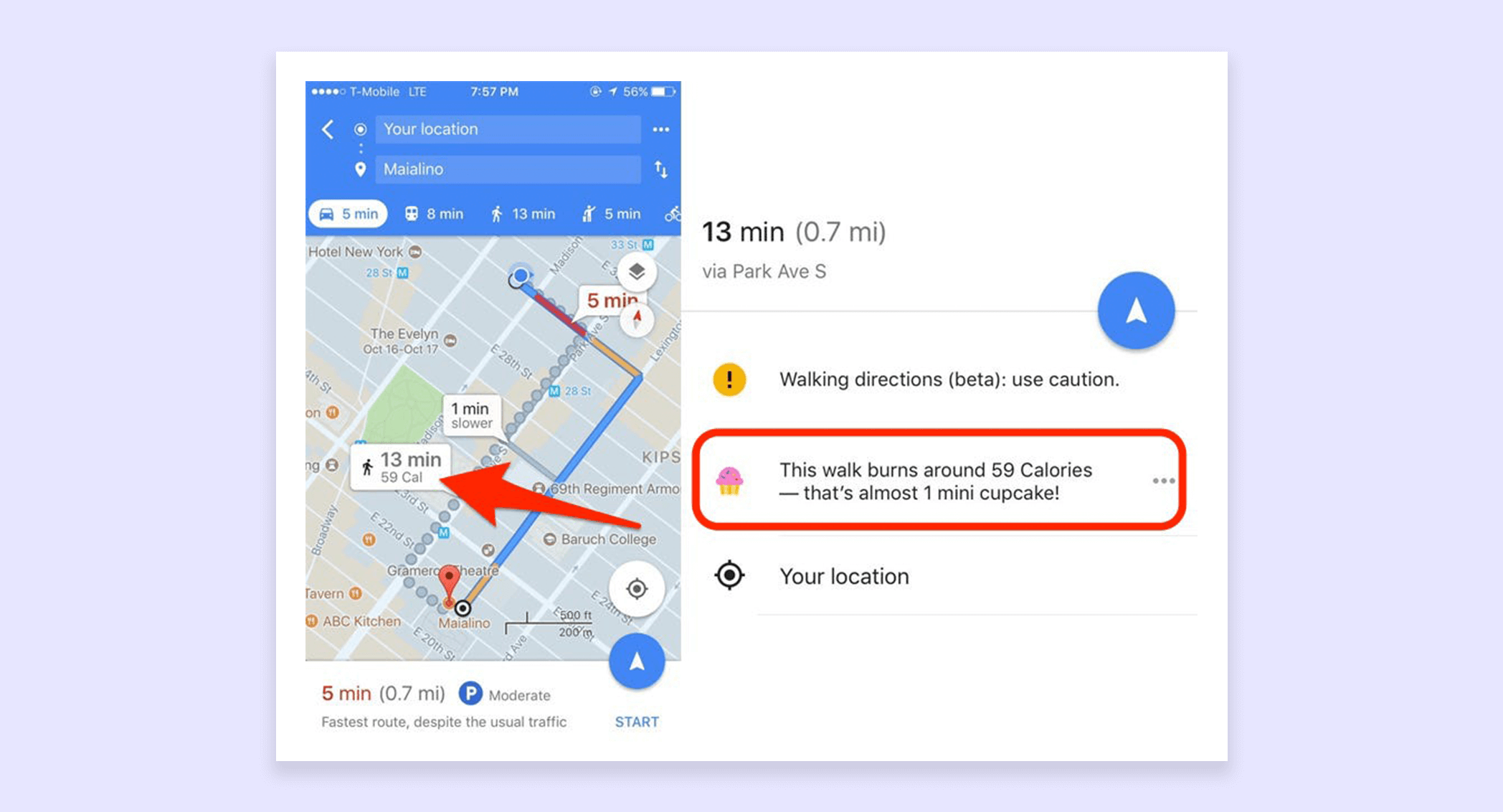 Google's calorie burning feature showing that you could burn 59 calories—almost one mini cupcake—if you walked the route instead.