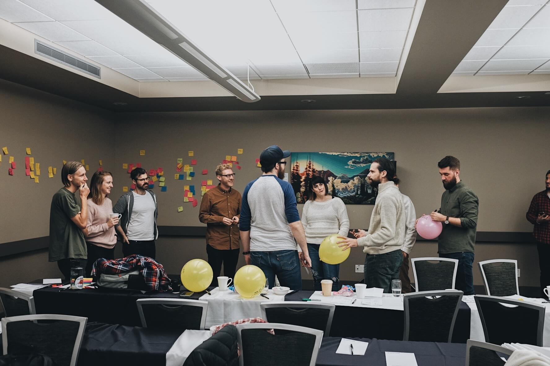 Balloons being popped during the breakout sessions at MetaLab's Remote Summit