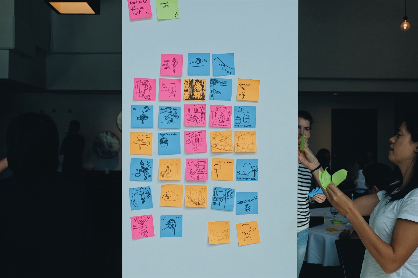 MetaLab's product designers using sticky notes to do experience mapping for a zipline park