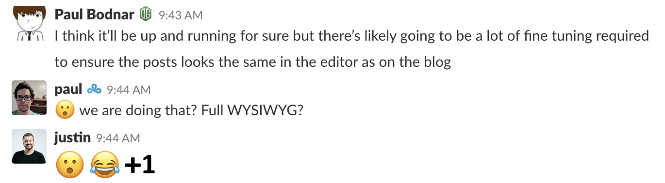 A Slack message discussing the