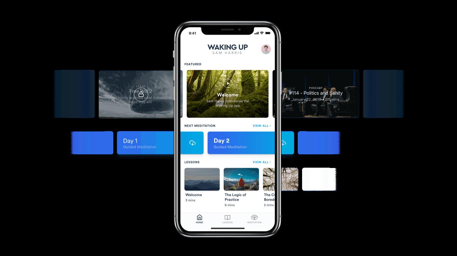 Waking up app homepage