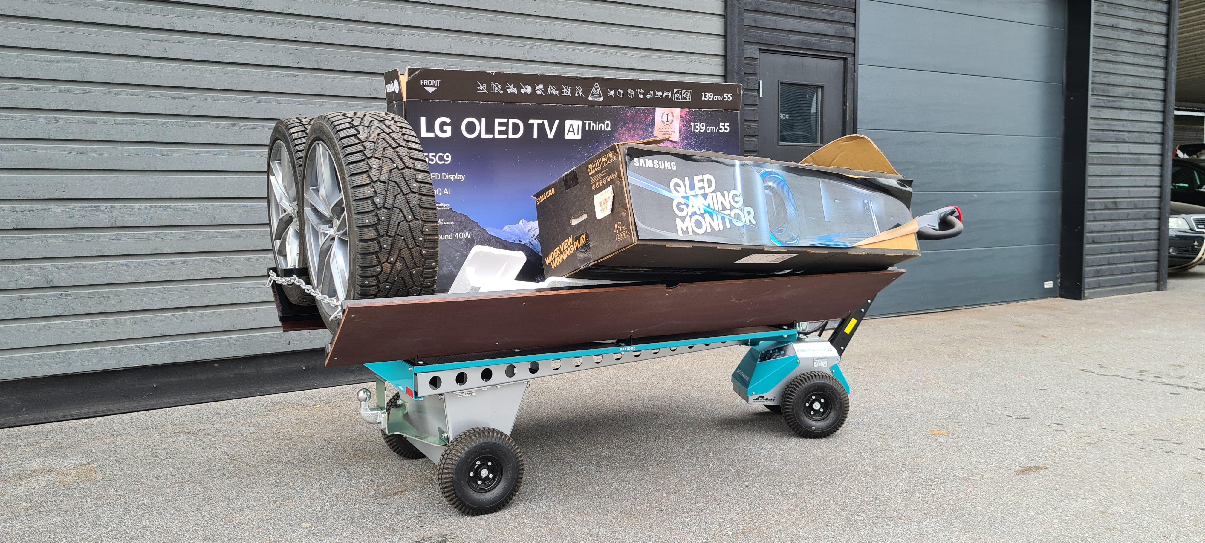 ErgoCarrier 4WD lastad med hjul och skräp