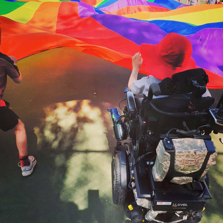 A kid on a wheelchair