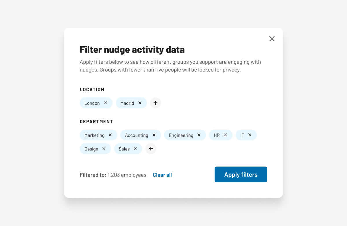 An image showing the new filter ability on Humu's Admin Dashboard