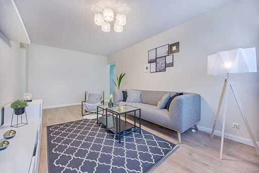 Leasing agent showing apartment during tour