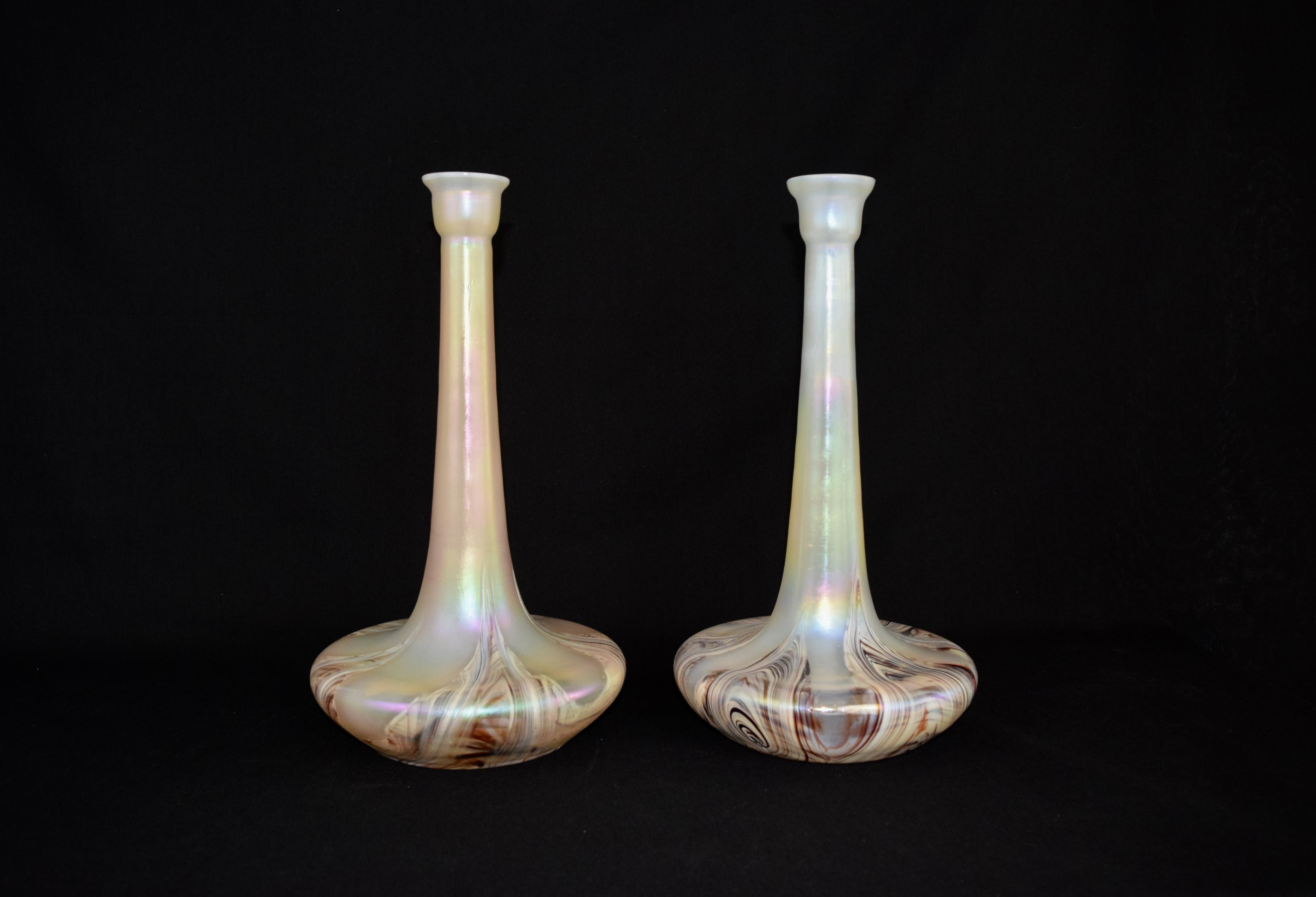 Set of large Iridescent Jugendstil / Art Nouveau Wilhelm Kralik Sohn Vases
