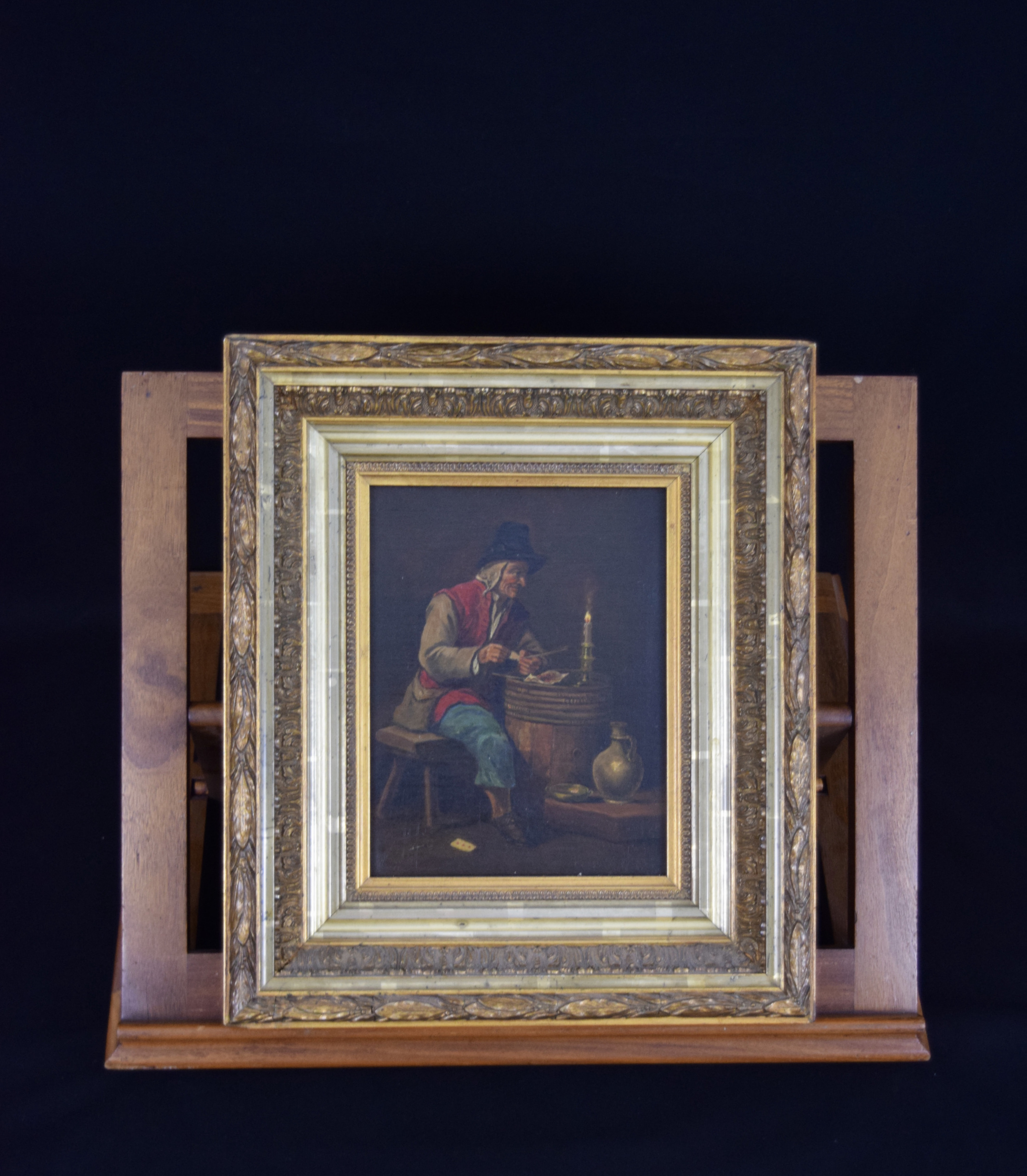 Painting on wooden panel in rich golden frame 19th Century - Man with pipe