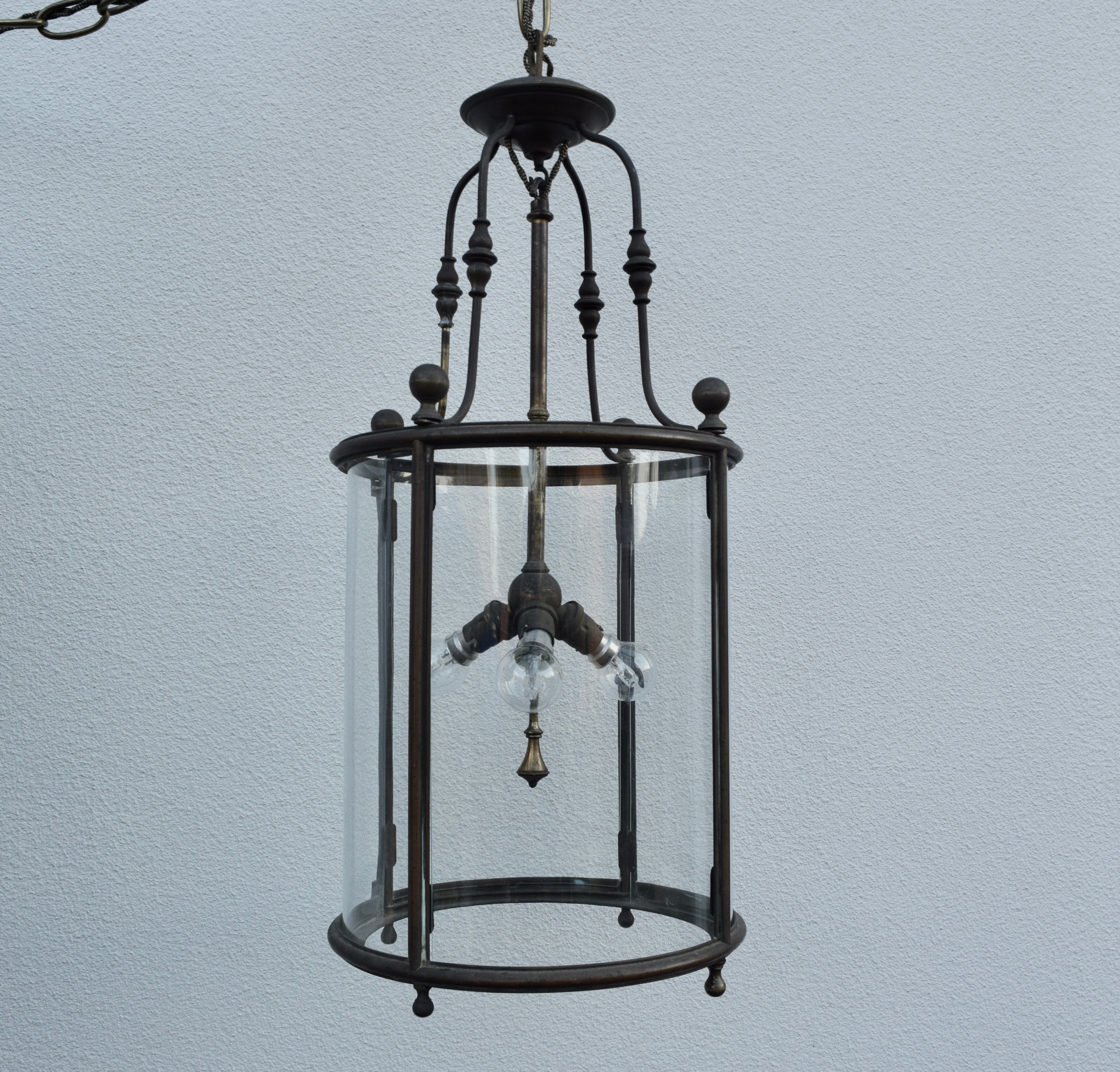 Antique brass hall lantern
