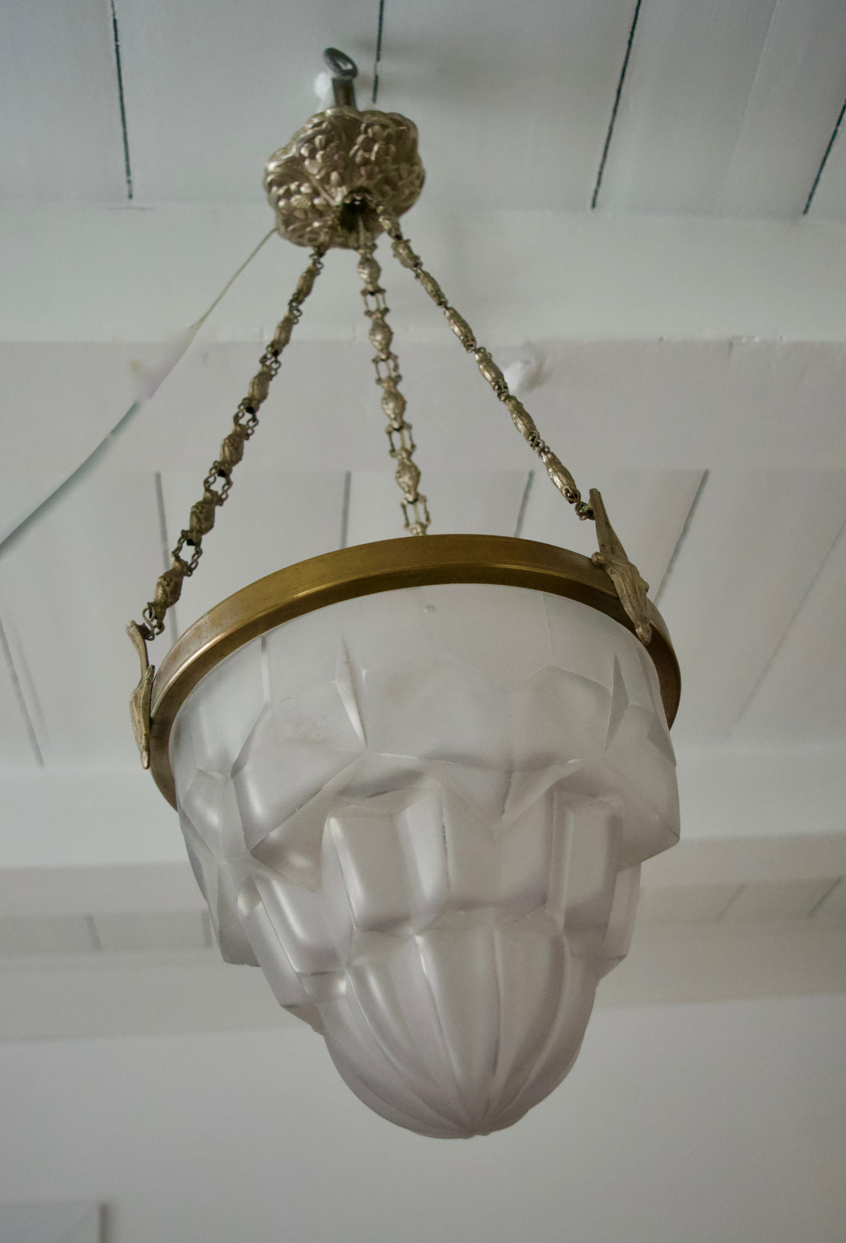 French Art Deco Degue Chandelier, France 1920s
