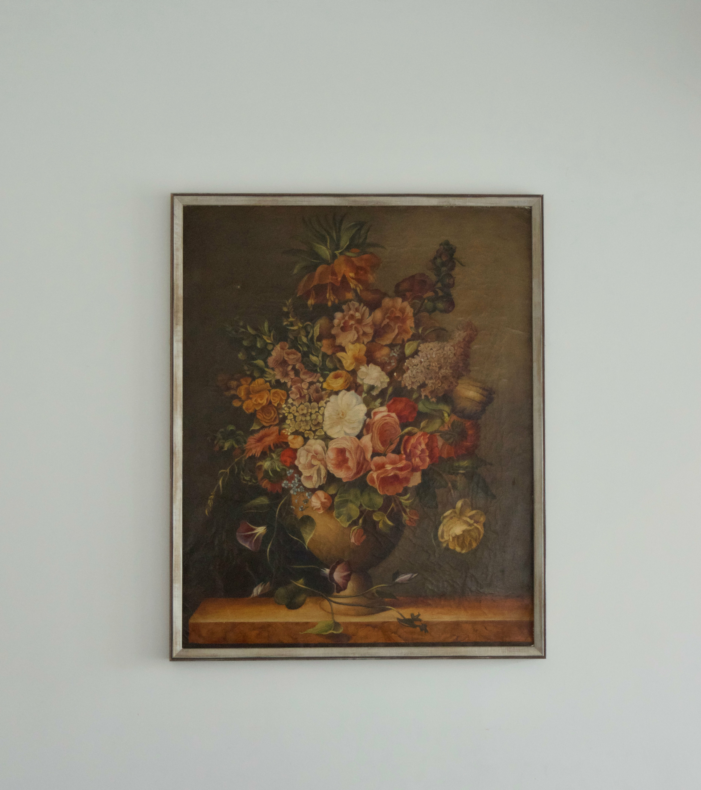 Large still-life of flowers on canvas