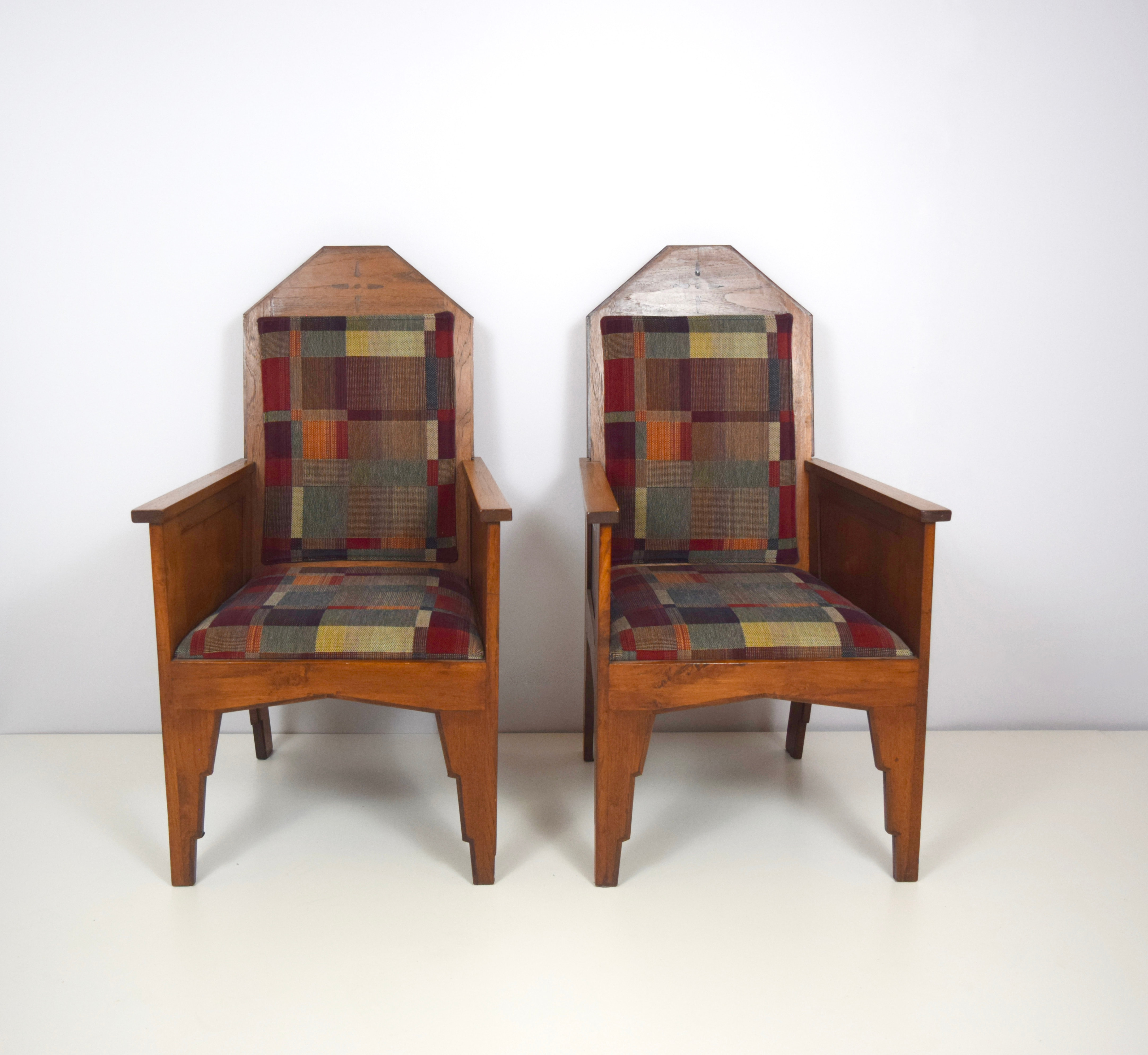 Amsterdam School Arm Chairs, Indonesia 1920's, Set of 2