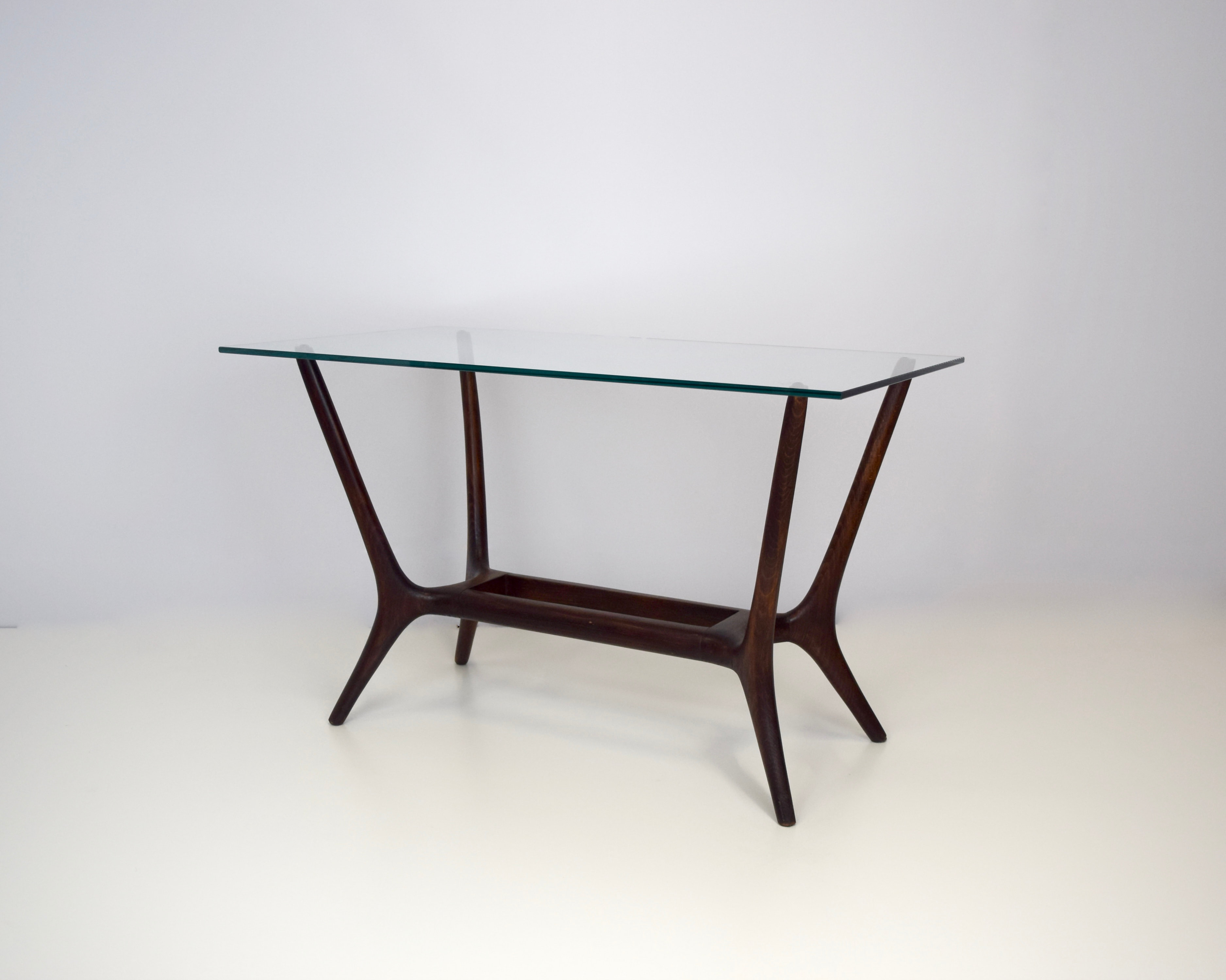 Italian Midcentury Modern Coffee Table in Mahogany and Glass, 1950's