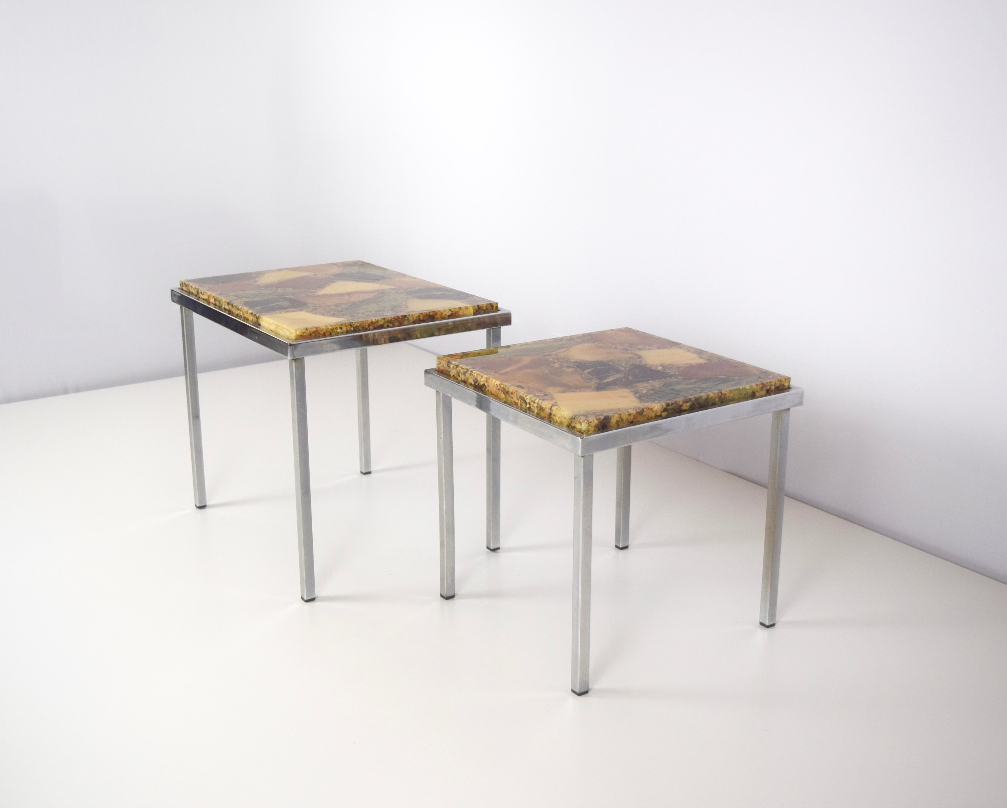 Set of Two Coffee Tables in Chrome and Epoxy