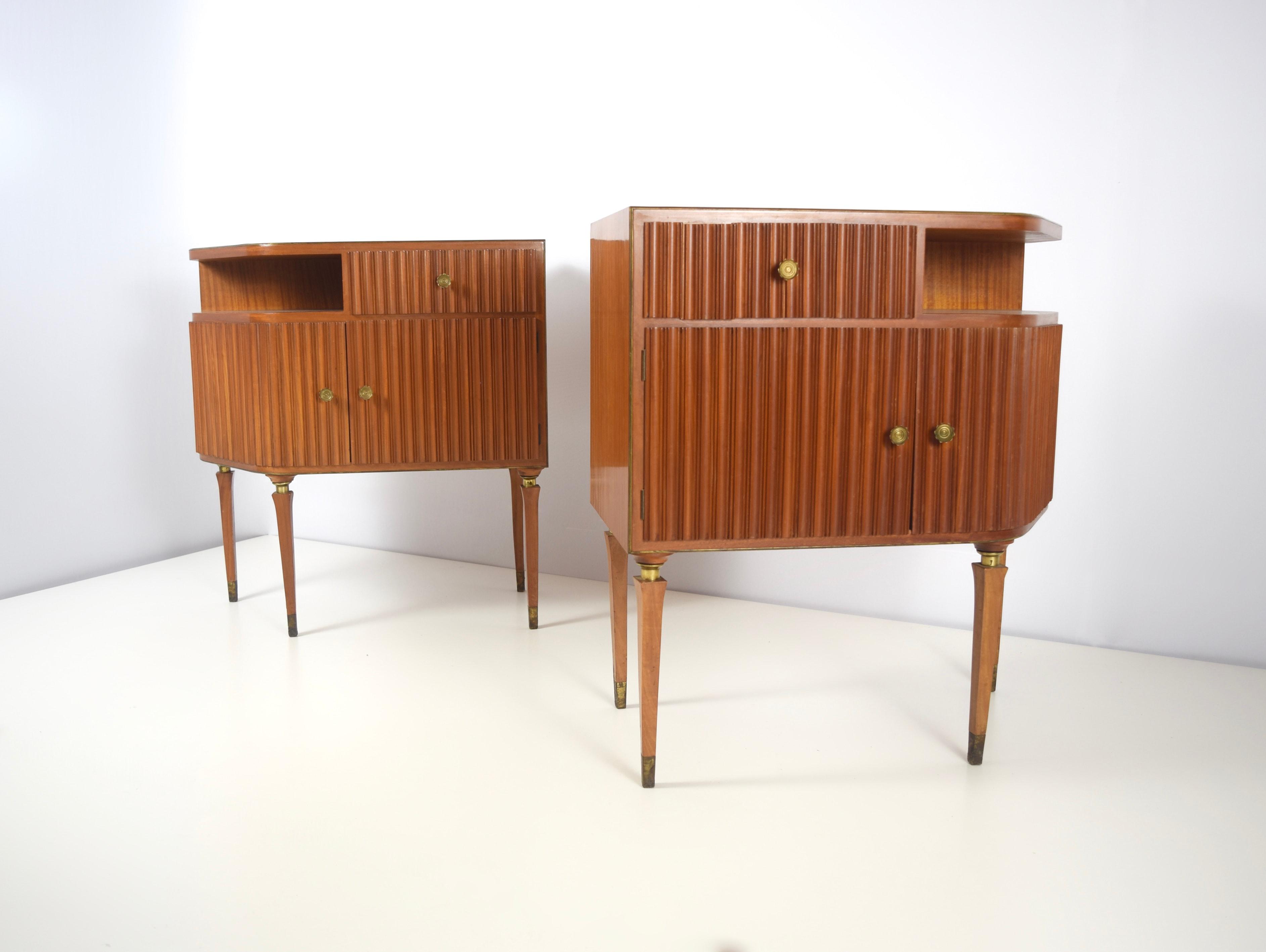 Mahogany and Brass Bedside Tables by Paolo Buffa, Italy 1950's