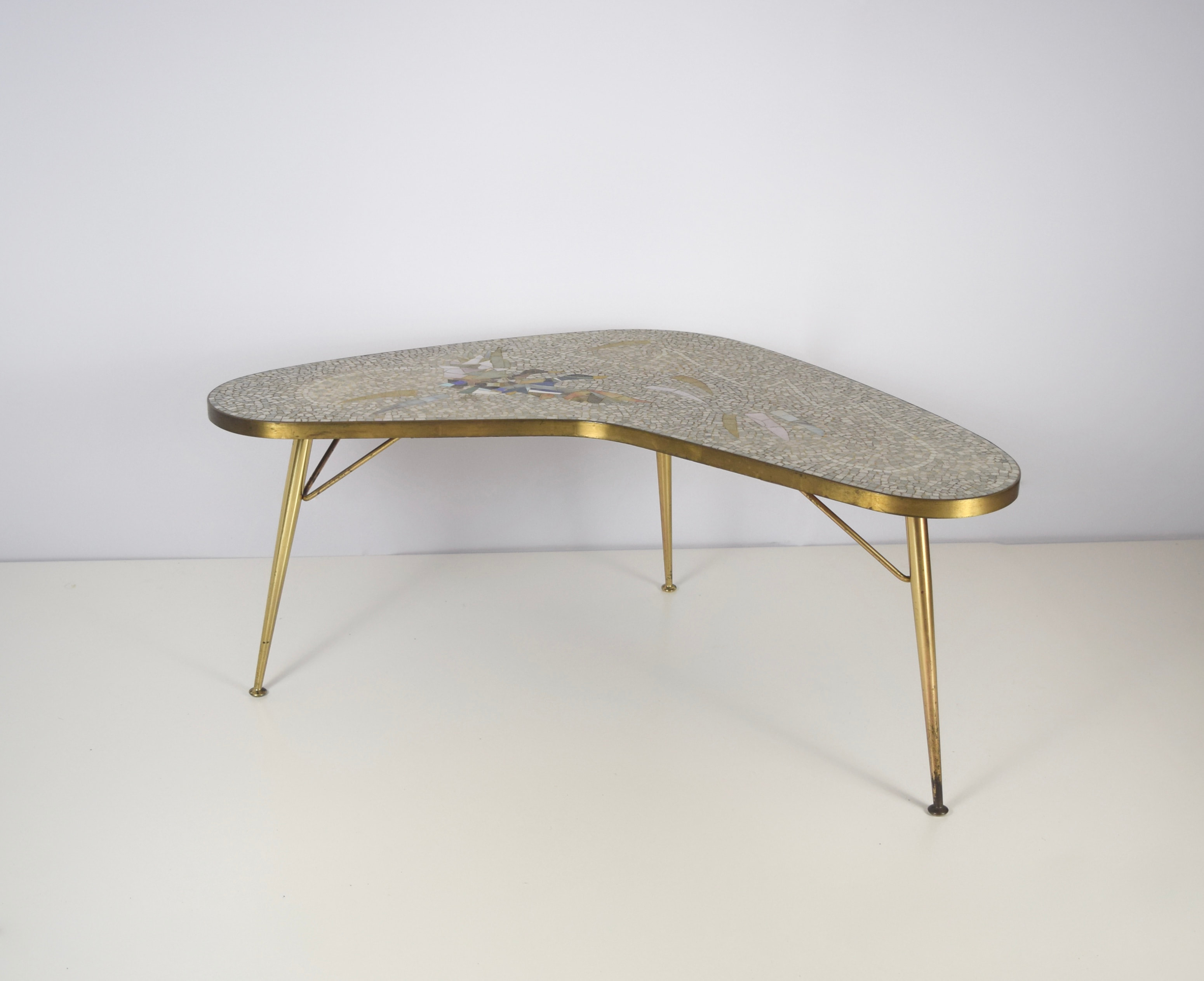Mosaic and Brass Coffee Table by Berthold Müller-Oerlinghausen, Germany 1950's