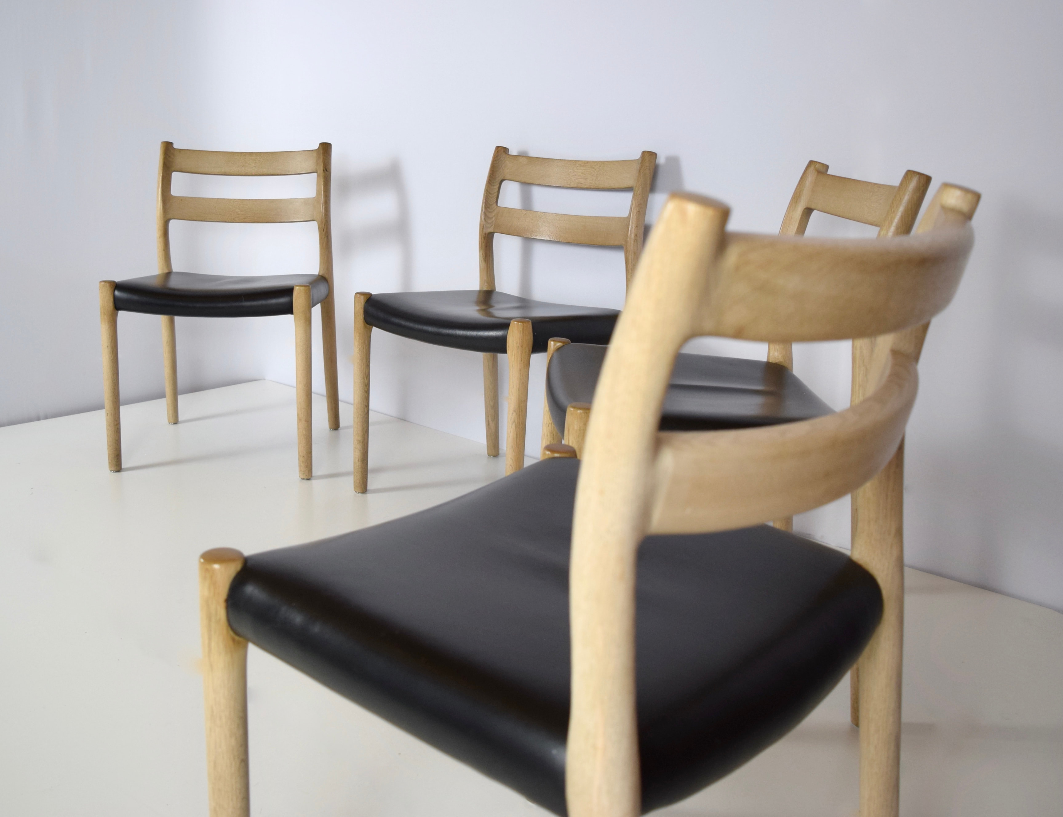 Set of 4 Niels Otto Møller Dining Chairs Model 84 in Leather and Oak, Denmark 1960's