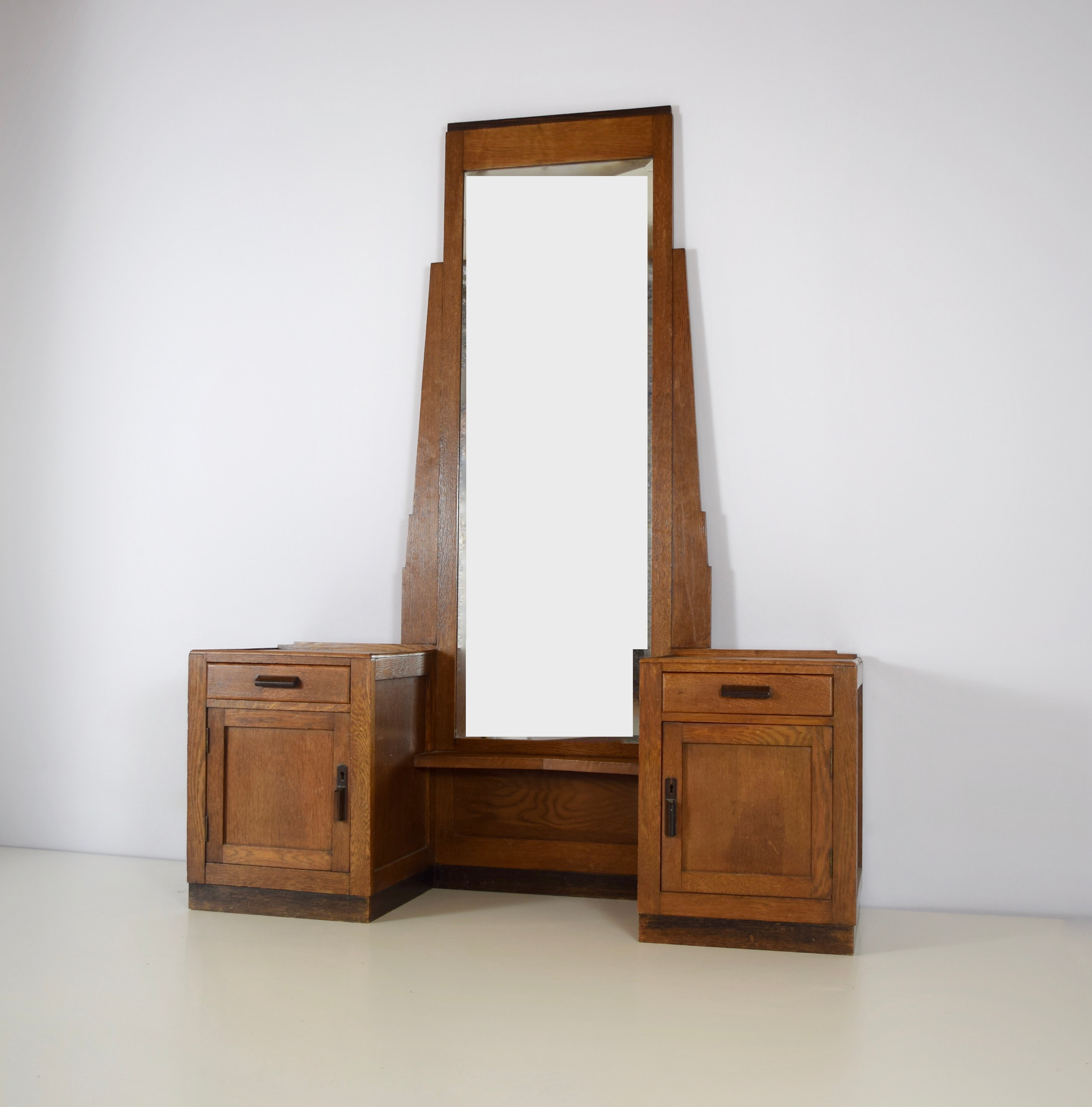 Amsterdam School Hall Cabinet or Dressing Cabinet with Mirror