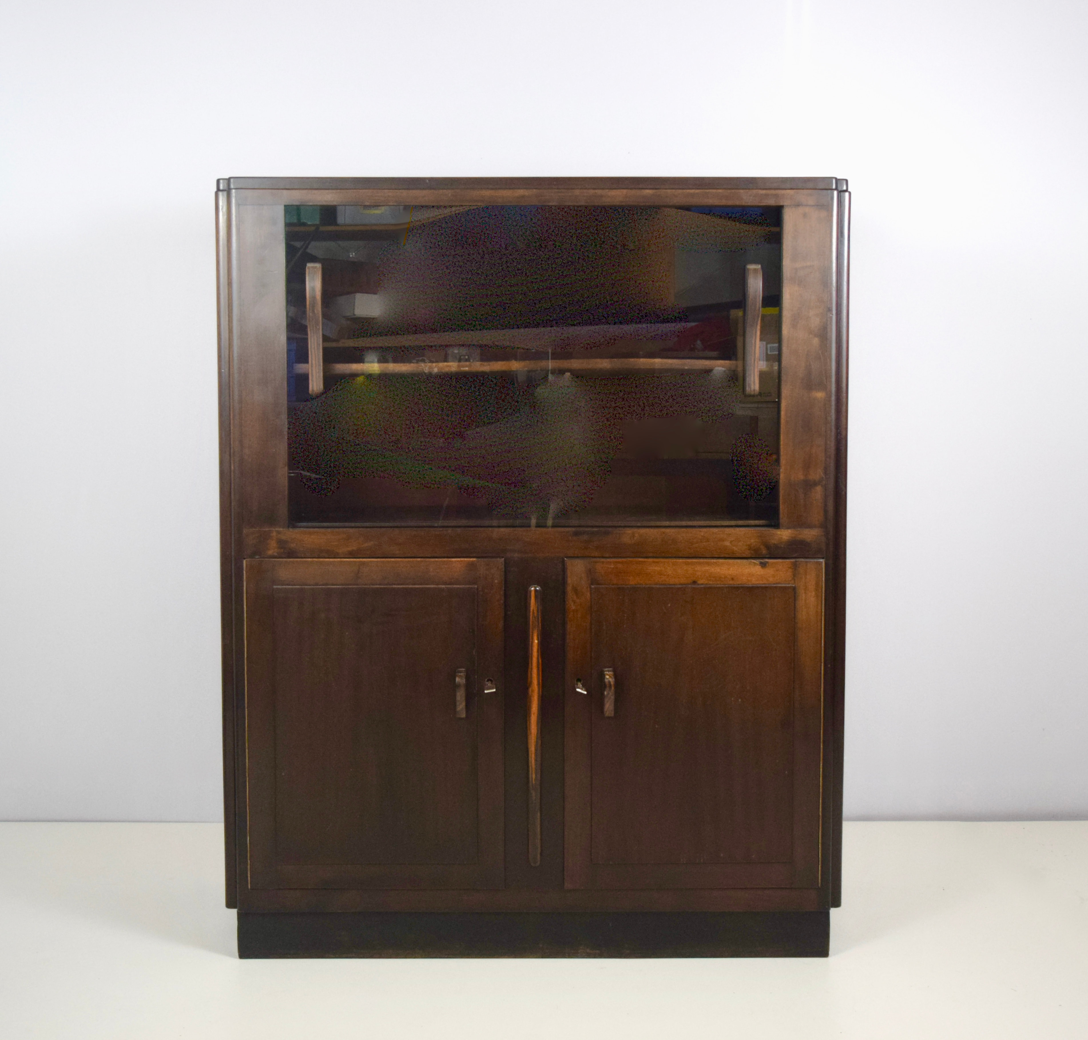 Amsterdam School Display Cabinet Mahogany with Glass Doors