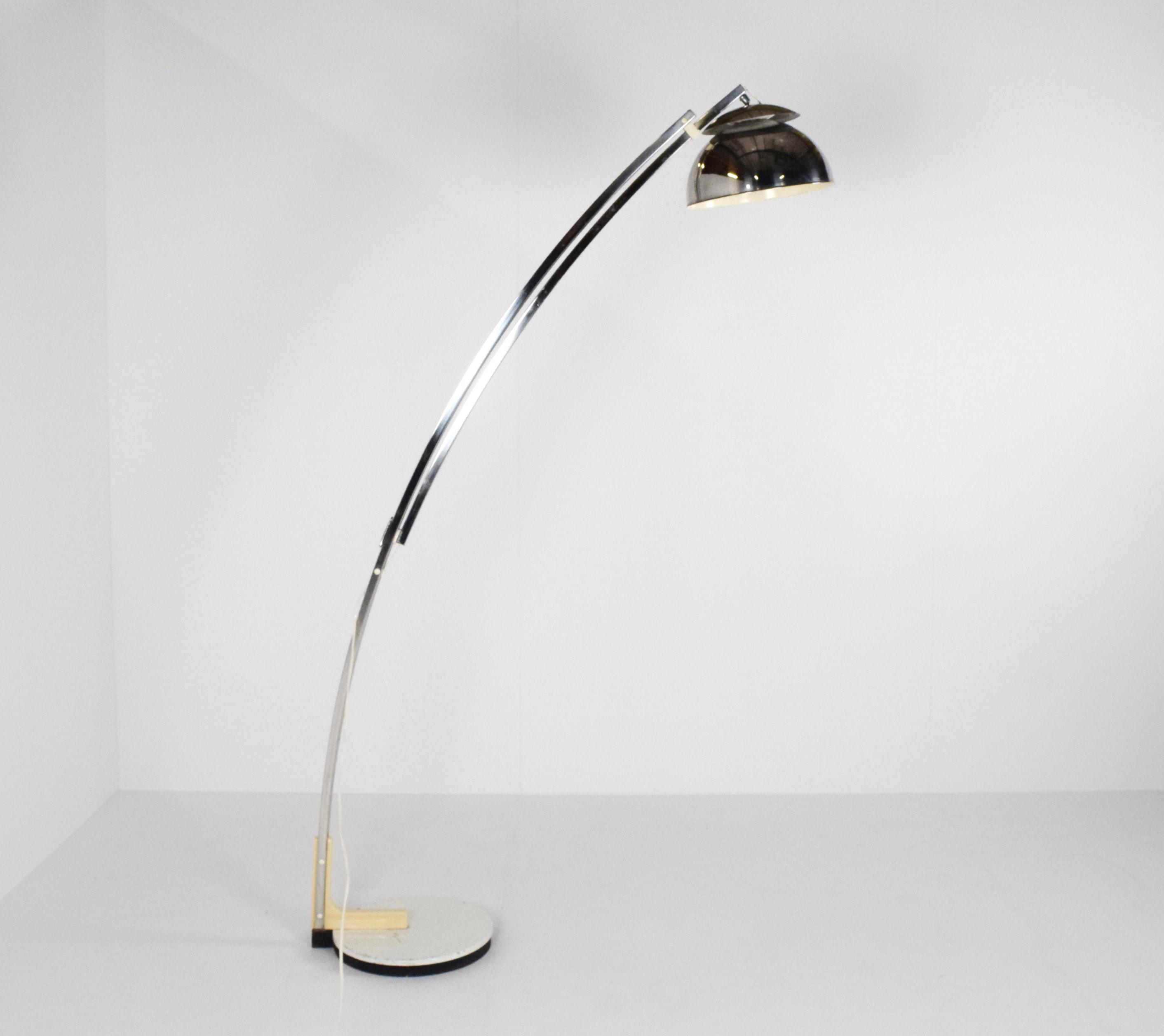 Goffredo Reggiani Adjustable Chrome Arc Floor Lamp, Italy 1970's