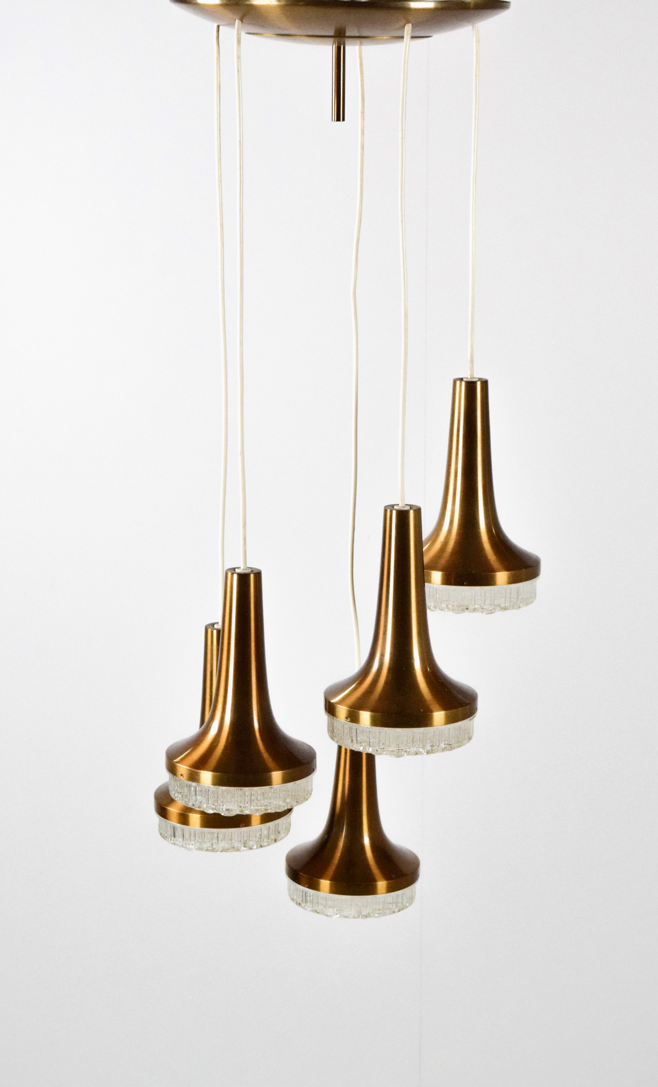 Stilux Milano Chandelier with Copper and Crystal Glass, Mid-Century Italian Design