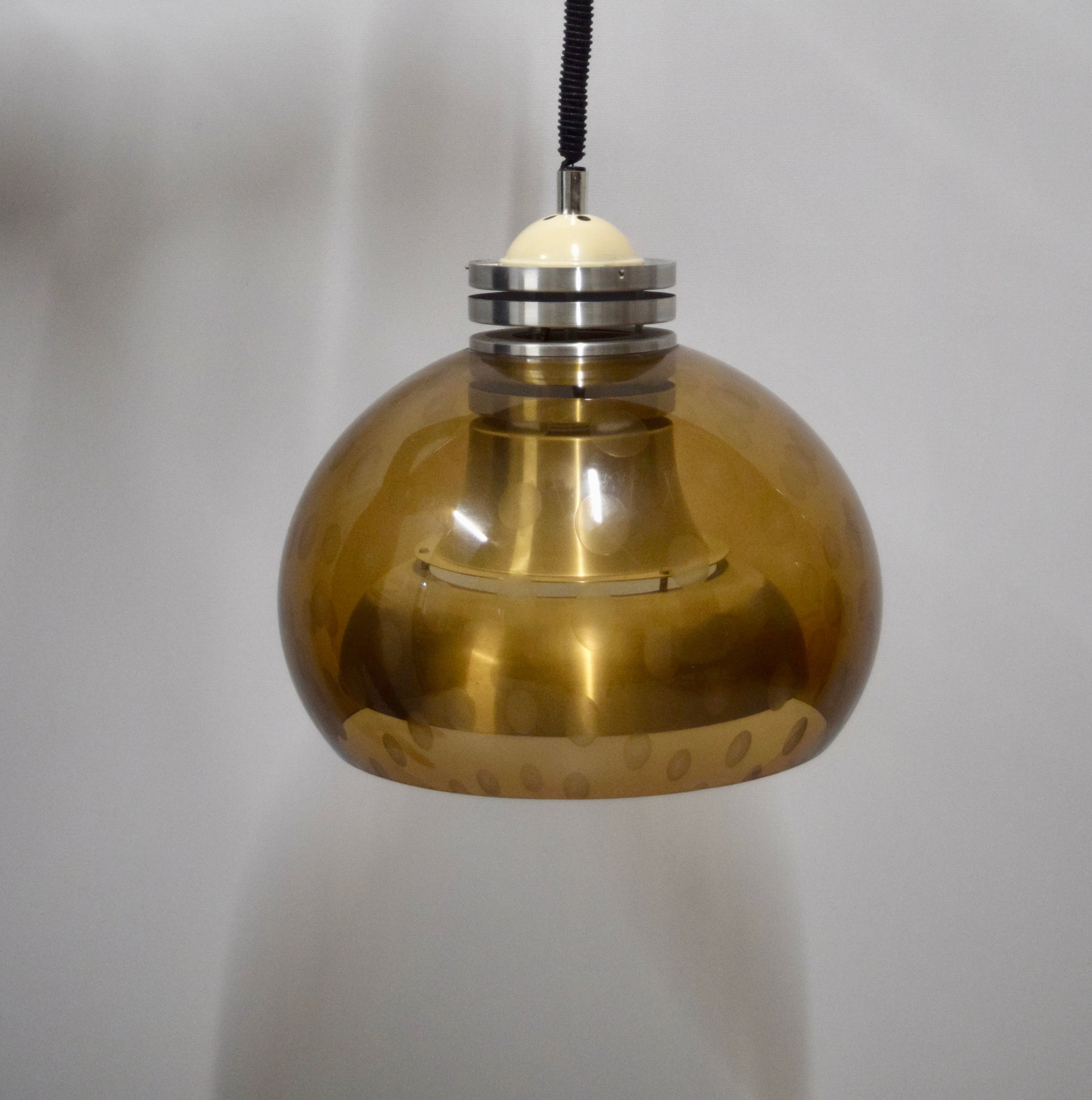 Vintage Lakro Ceiling Lamp,  Aluminium and Plastic, The Netherlands 1960's