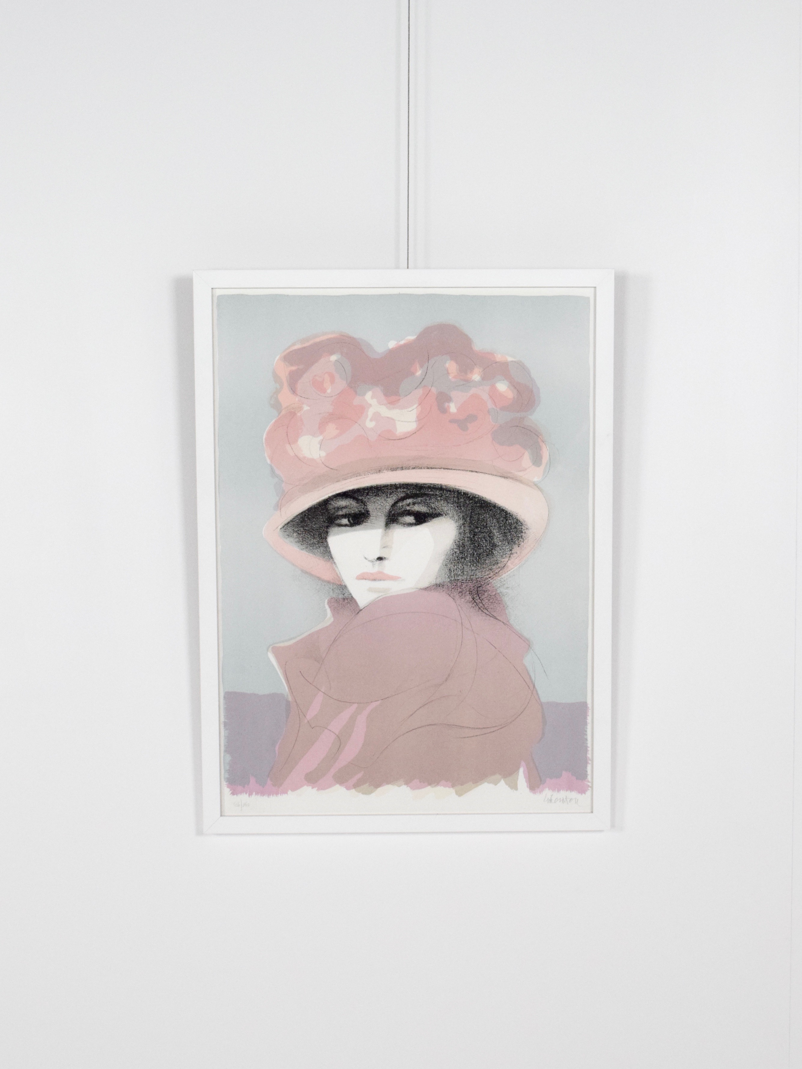 Lithograph in new frame of lady by Fausto Maria Liberatore - 1970s