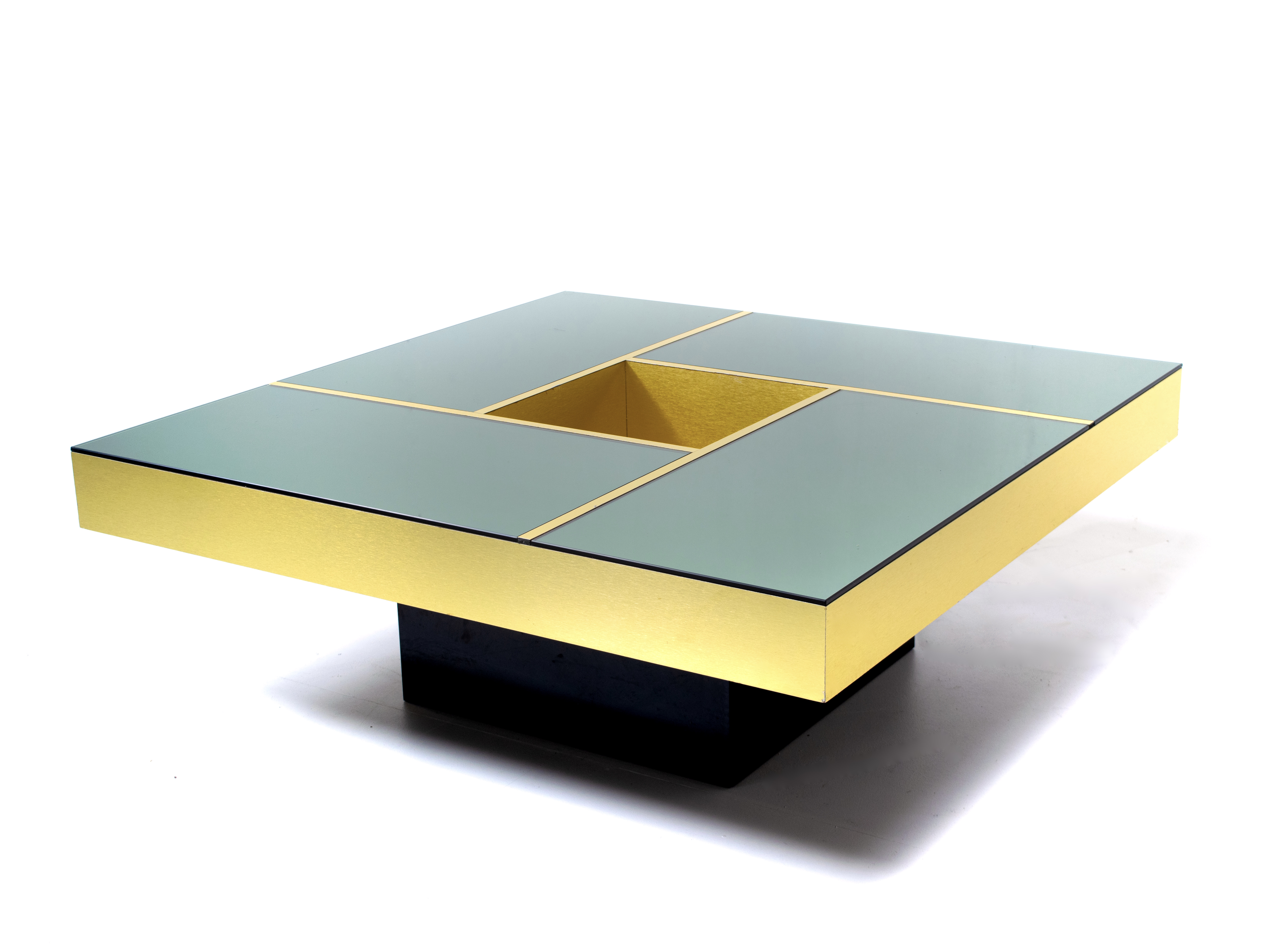 Mirror coffee table 'Shilling' by Giovanni Ausenda & Guido Baldi Grossi, Italy 1970s