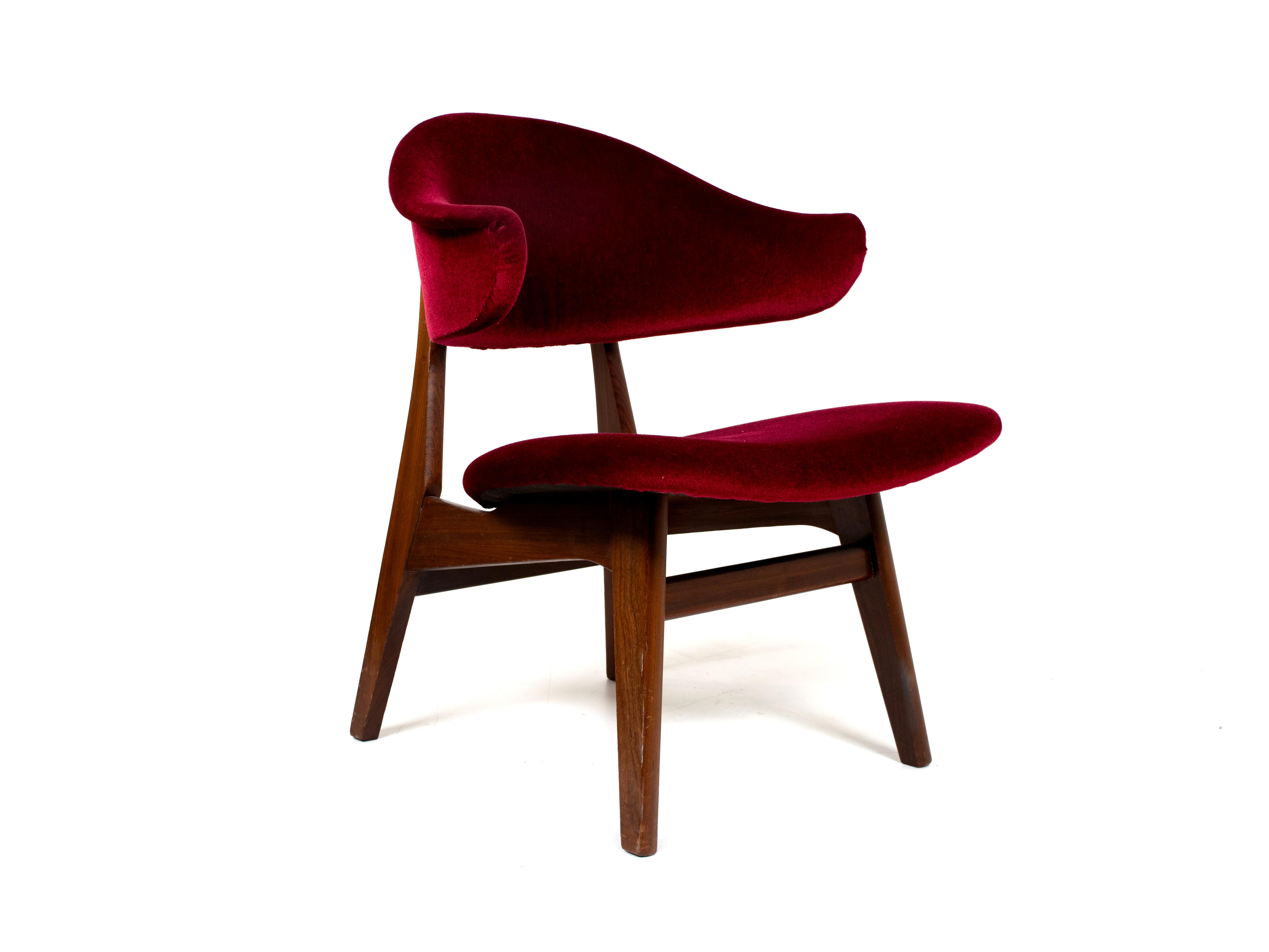 Vintage Wing Arm Chair in Teak and Fabric, Louis van Teeffelen style, 1960s