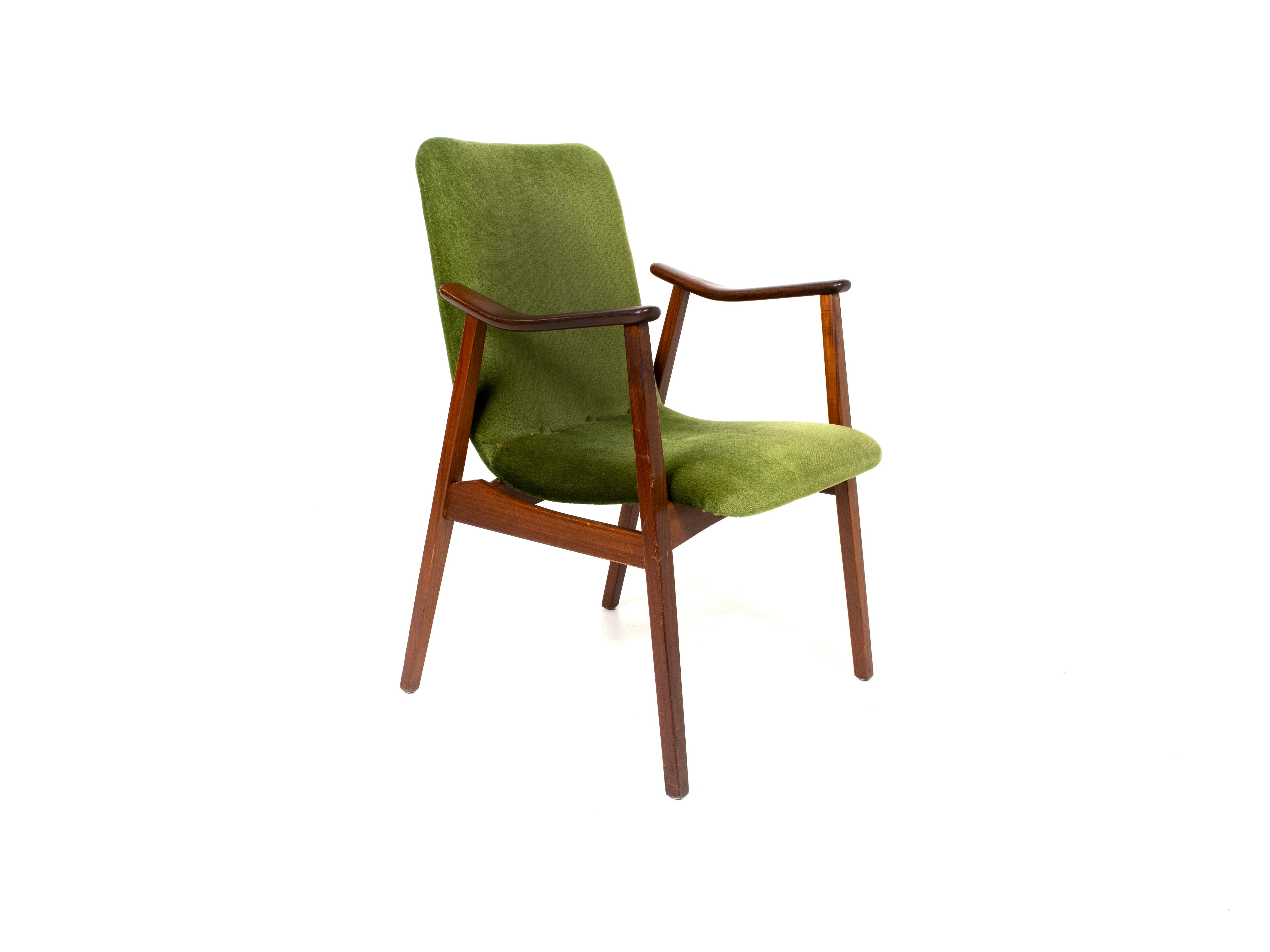 Vintage Lounge Chair in Teak and Green Velvet, Louis van Teeffelen Style, 1960s
