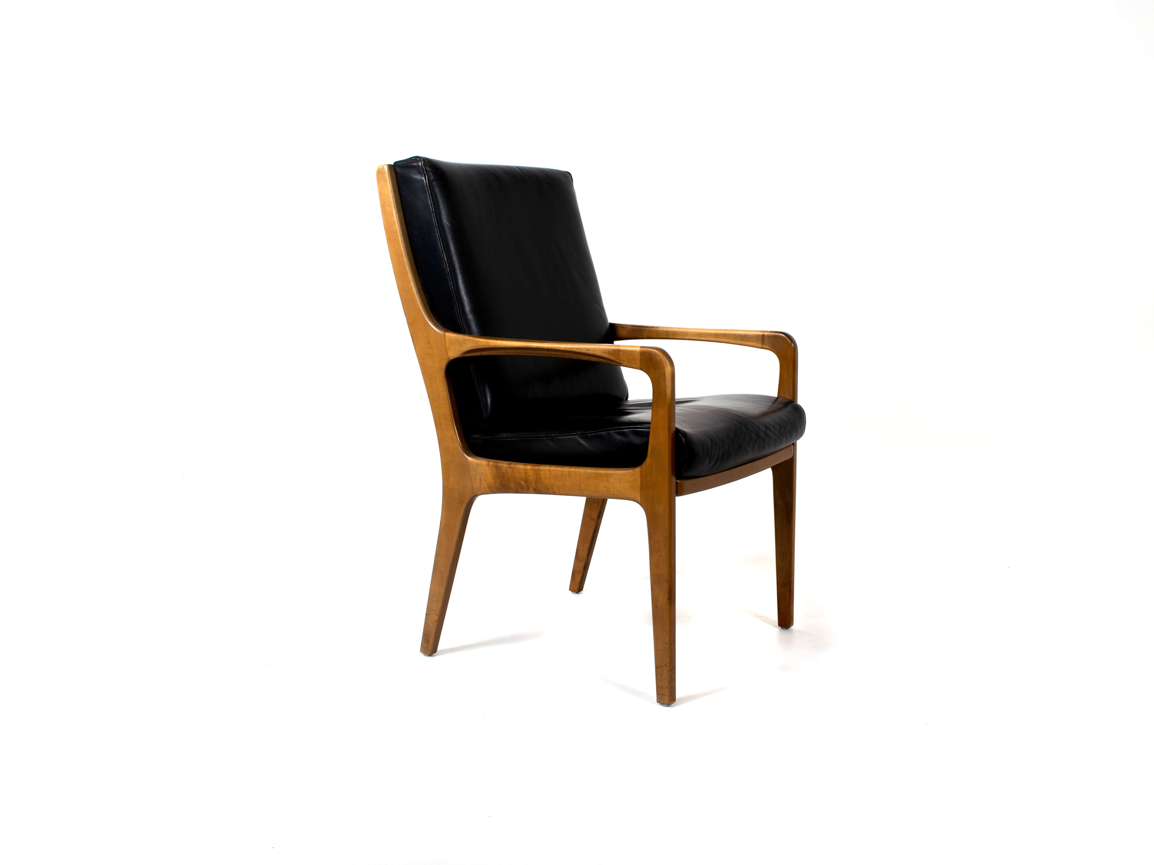 Eugen Schmidt High-Back Conference Chair in Leather and Wood